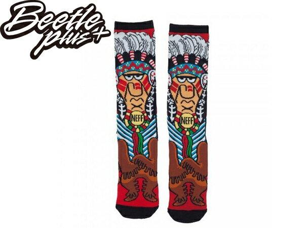 BEETLE 美國潮牌 NEFF CHIEF SOCKS 滿版 印第安人 紅 長筒襪 中長襪 HUF OBEY - 限時優惠好康折扣