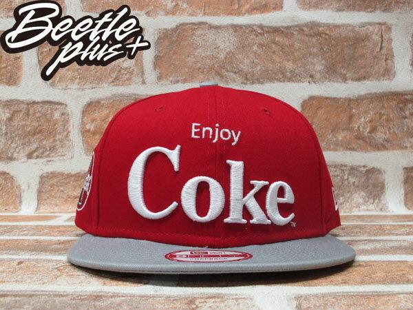 BEETLE PLUS 全新 NEW ERA SNAPBACK ENJOY COKE 可口可樂 電繡字 LOGO 紅灰 後扣棒球帽 NE-73 0