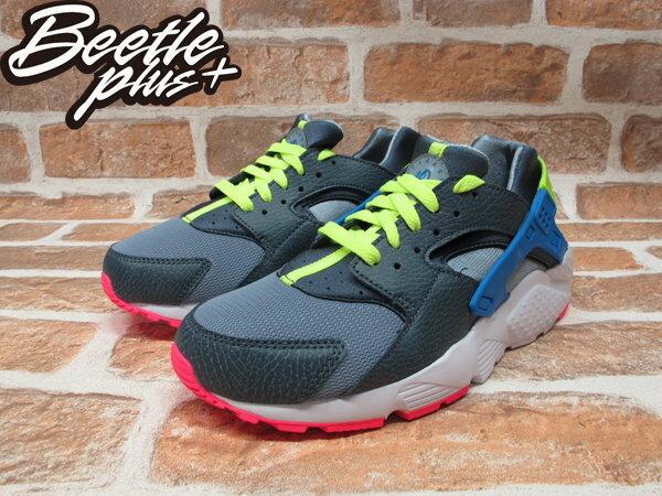 BEETLE PLUS NIKE AIR HUARACHE GS 鐵灰 藍黃 粉紅 女鞋 忍者鞋 654275-002 1