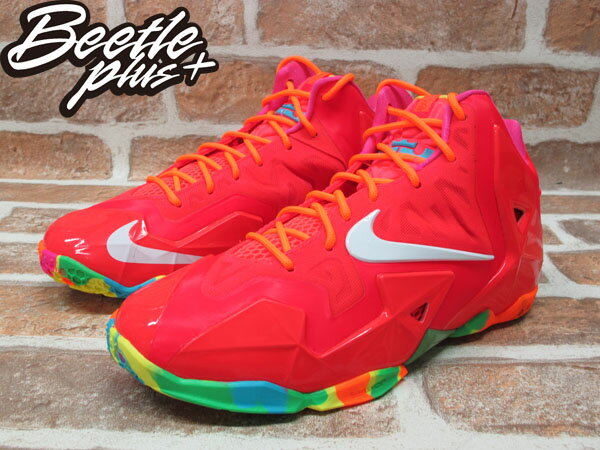 BEETLE PLUS 全新 NIKE LEBRON 11 XI GS FRUITY PEBBLES CANDY 桃紅 糖果 潑墨 女鞋 JAMES 621712-600 1