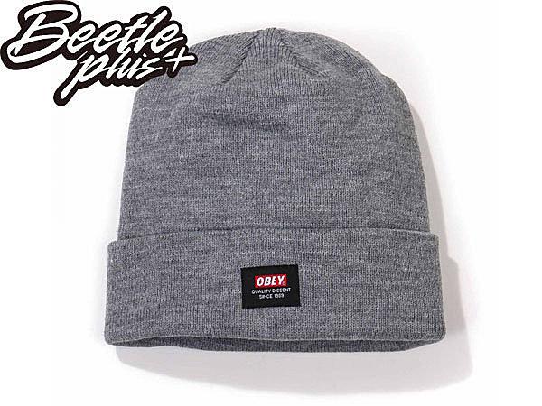 BEETLE PLUS 西門町經銷 全新 美國品牌 OBEY QUALITY DISSENT BEANIE 灰 LOGO 基本 素面 毛帽 100030052HTR OB-218 - 限時優惠好康折扣