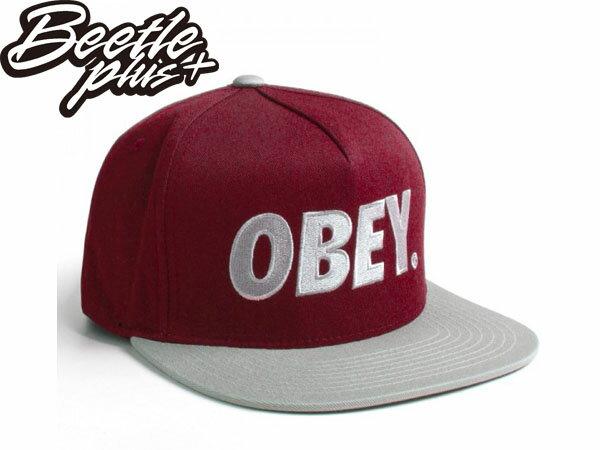 BEETLE PLUS 西門町經銷 全新 美國品牌 OBEY THE CITY SNAPBACK FONT 大LOGO 酒紅 灰文字 帽沿 後扣棒球帽 100140032BSV 0
