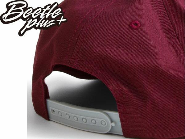 BEETLE PLUS 西門町經銷 全新 美國品牌 OBEY THE CITY SNAPBACK FONT 大LOGO 酒紅 灰文字 帽沿 後扣棒球帽 100140032BSV 1