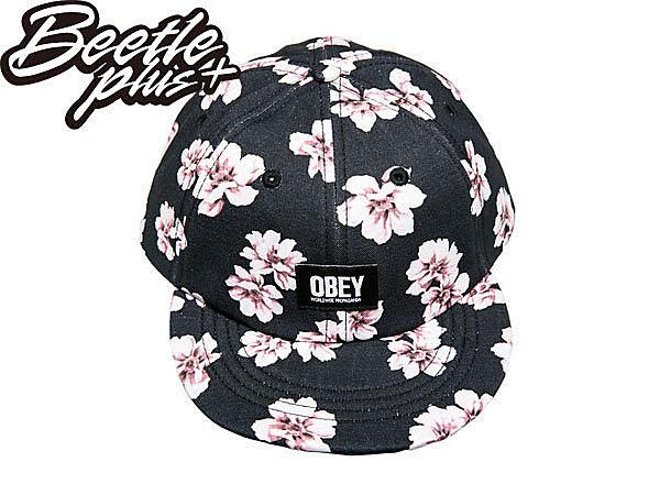 BEETLE PLUS 西門町經銷 全新 美國品牌 OBEY IN BLOOM THROWBACK LOGO 黑 花卉 杜鵑花 六片帽 200140017BLK OB-229 1