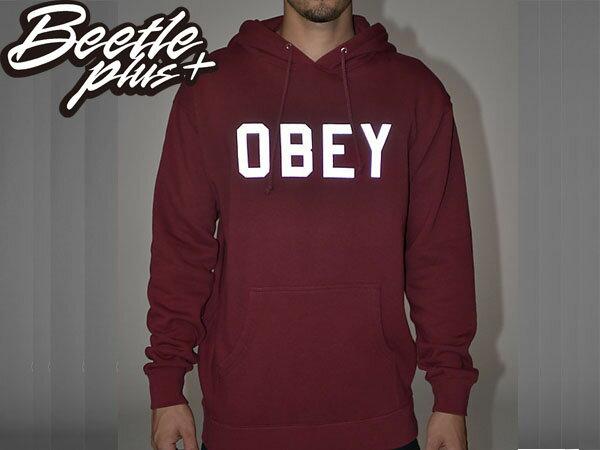 BEETLE PLUS 西門町經銷 全新 美國品牌 OBEY COLLEGIATE REFLECTIVE 3M 文字 反光 LOGO 酒紅 美式 帽TEE 111730825CAR OB-208 1