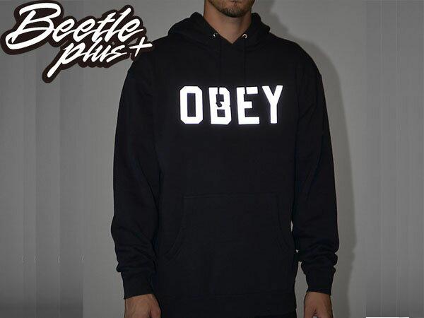 BEETLE PLUS 西門町經銷 全新 美國品牌 COLLEGIATE OBEY REFLECTIVE 3M 文字 反光 LOGO 深藍 美式 帽TEE 111730825NVY OB-209 1