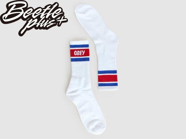 BEETLE PLUS 西門町經銷 全新 美國品牌 OBEY COOPER SOCKS LOGO OLD SCHOOL 白藍紅 經典款 中長筒襪 100260003BLR 2