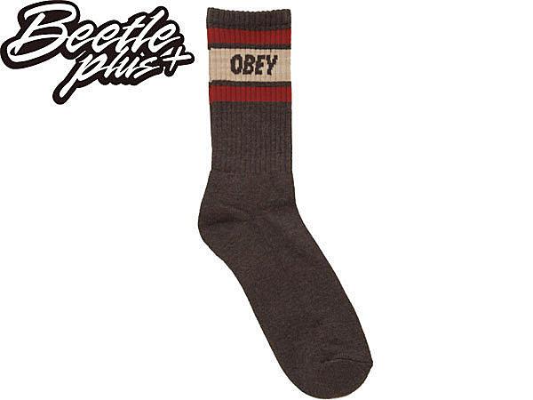 BEETLE PLUS 美國品牌 OBEY COOPER SOCKS LOGO 咖啡 酒紅 卡其 經典款 中長筒襪 100260003TBI OB-224 - 限時優惠好康折扣