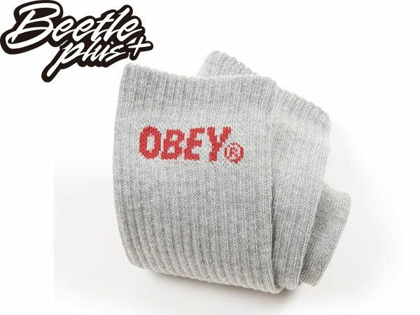 BEETLE PLUS 西門町經銷 美國品牌 OBEY ALL COURT HIGH SOCKS LOGO 灰 酒紅 經典 基本款 長襪 棒球襪 100260033HYB OB-191 2