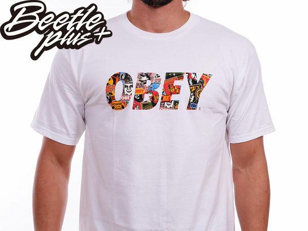 BEETLE PLUS 西門町經銷 全新 美國品牌 OBEY FONT LOGO TEE 白 民族風 圖騰 普普 文字彩圖 163080387WHT 0