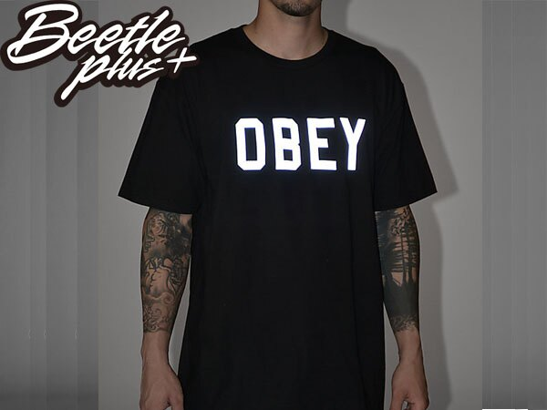 BEETLE PLUS 西門町經銷 全新 美國品牌 COLLEGIATE OBEY REFLECTIVE 3M 文字 反光 LOGO 黑白 美式 短袖 TEE 163080825BLK OB-213 1