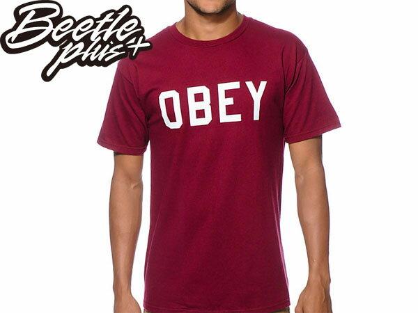 BEETLE PLUS 西門町經銷 全新 美國品牌 OBEY COLLEGIATE  REFLECTIVE 3M 文字 反光 LOGO 酒紅  短TEE 163080825BUR OB-214 0