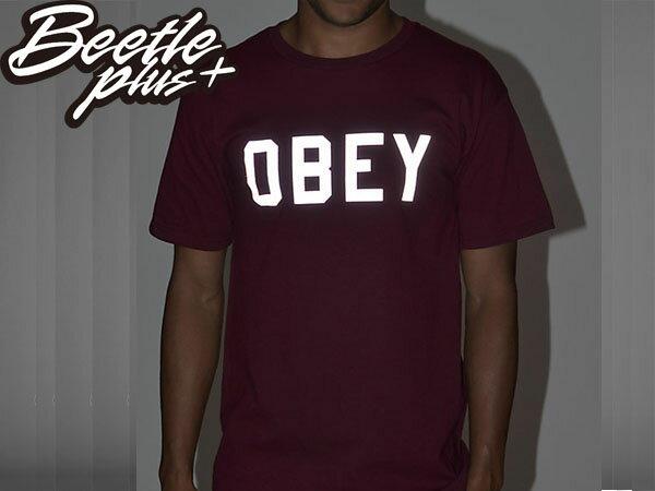 BEETLE PLUS 西門町經銷 全新 美國品牌 OBEY COLLEGIATE  REFLECTIVE 3M 文字 反光 LOGO 酒紅  短TEE 163080825BUR OB-214 2