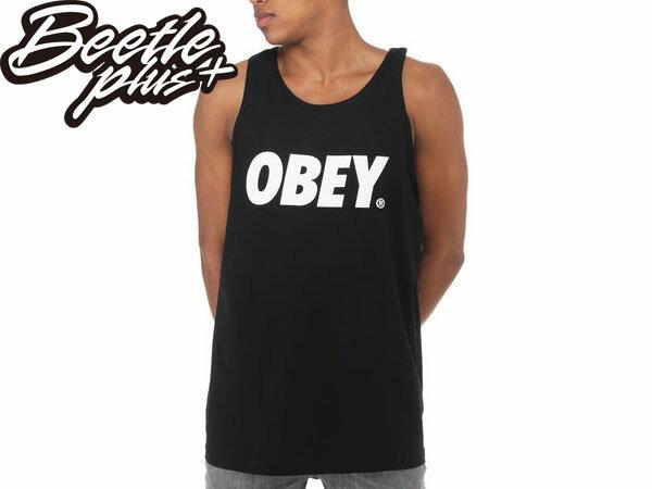 BEETLE PLUS 西門町經銷 美國品牌 OBEY FONT TANK TOP LOGO 黑白 美式 標語 背心 文字 NEW ERA 333070029BLK 0