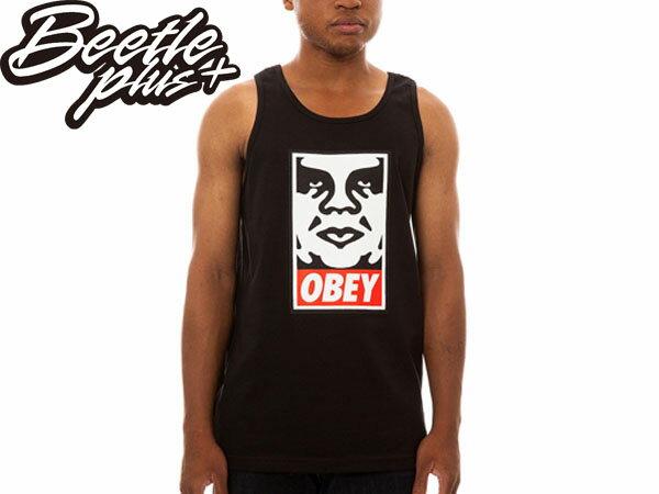 BEETLE PLUS 西門町經銷 美國品牌 OBEY ICON FACE TANK LOGO 人臉 塗鴉 背心 圖案 黑 白 NEW ERA 333070083BLK