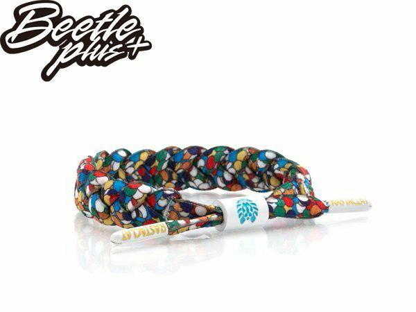 BEETLE PLUS 西門町經銷 全新 美國品牌 RASTACLAT SHOELACE BRACELET DELISH 全白 彩虹 馬賽克 拼貼 玻璃 水晶 編織 鞋帶 手環 RA-57
