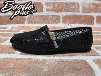 BEETLE PLUS 全新 TOMS CLASSICS BLACK GLITTER WOMEN 女鞋 黑 亮片 平底 帆布鞋 001013B09-BLK TOMS-09