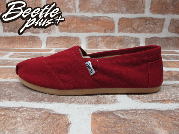 BEETLE PLUS 全新 TOMS CLASSICS RED CANVAS WOMEN 女鞋 布面 紅 平底 帆布鞋 TOMS-024