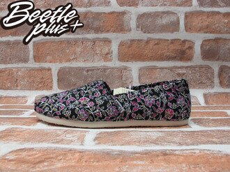 BEETLE PLUS 全新 TOMS CLASSICS BLACK FLORAL 花花 布面 休閒 平底 懶人鞋 阿甘鞋 帆布鞋 TOMS-036