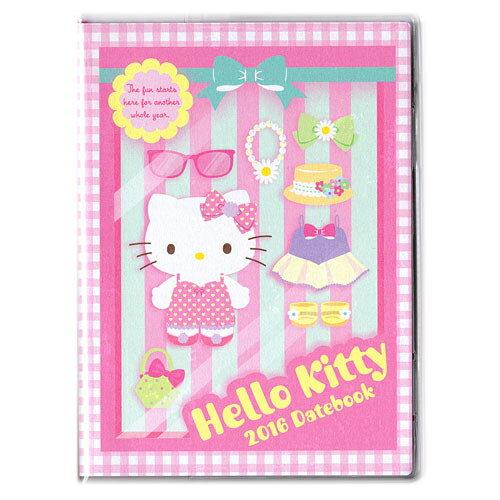 【真愛日本】15091800029  16年曆本-KT粉條紋服飾16年曆本-KT粉條紋服飾2016 萬年曆 行事曆 桌曆 KITTY 凱蒂貓
