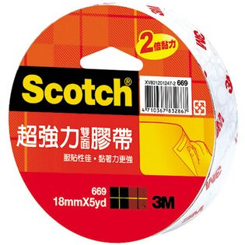 3MScotch超強力雙面膠帶18mmX5yd單入