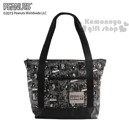 〔小禮堂〕史努比 可折疊側背旅行袋《黑.漫畫》可掛於行李箱桿上