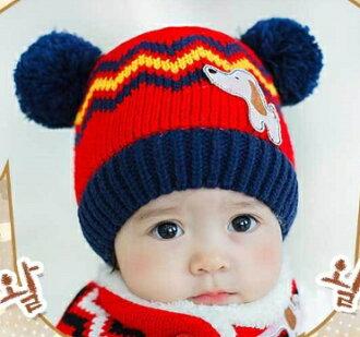 Lemonkid◆可愛狗狗閃電彩色條紋耳朵雙毛球造型兒童保暖毛線帽-紅色