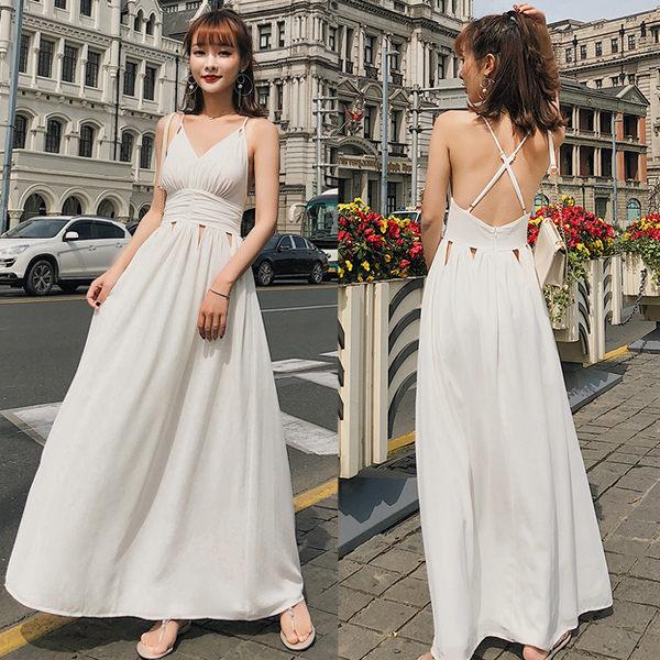 PS Mall 鏤空露背巴厘島度假沙灘吊帶V領長裙 連身裙 洋裝【T371】 2