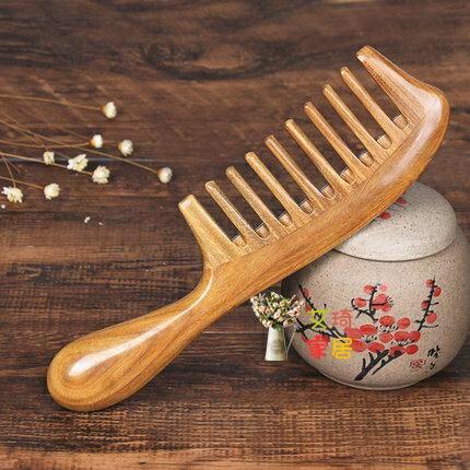 木梳 黑檀木大齒天然卷髮梳寬齒防靜電女順髮家用按摩梳子 聖誕節狂歡SALE