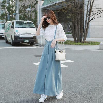 韓系女裝雪紡背帶褲寬鬆吊帶長褲寬褲樂天時尚館。預購