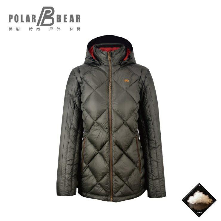 【POLAR BEAR】女輕量可拆帽中版羽絨衣