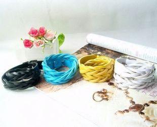 飾品 厚款朋克風格編織麻花多層纏繞式PU皮手鏈 4色