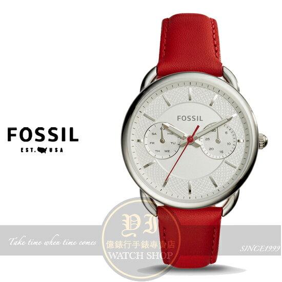 FOSSIL美國品牌Tailor優雅女伶日曆 真皮腕錶ES4122 貨 情人節  ~  好