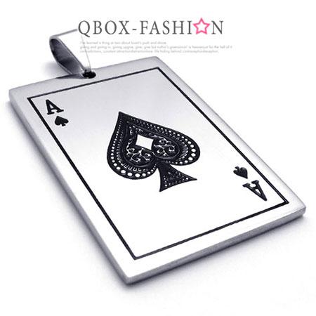 《 QBOX 》FASHION 飾品【W10020073】精緻個性撲克牌黑桃A316L鈦鋼墬子項鍊