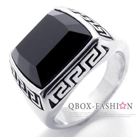 《 QBOX 》FASHION 飾品【W10020398】精緻個性鑲嵌方黑鋯石邊圖紋316L鈦鋼戒指/戒環