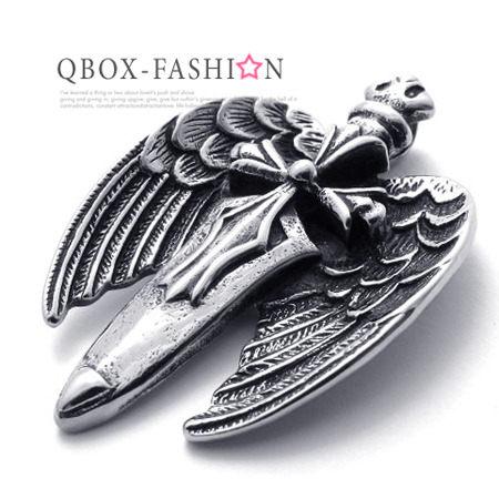 《QBOX》FASHION飾品【W10020516】精緻古典十字劍翅膀316L鈦鋼墬子項鍊