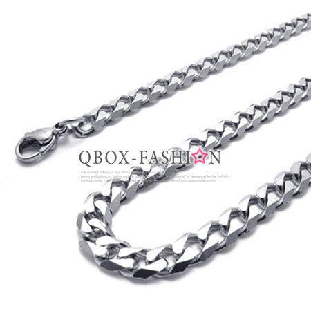 《QBOX》FASHION飾品【W10020628】精緻個性簡約環扣品格316L鈦鋼項鍊子鋼鍊條(銀)