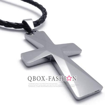 《 QBOX 》FASHION 飾品【W10020989】精緻個性粗曠鑽石鏡面十字架鎢鋼墬子項鍊
