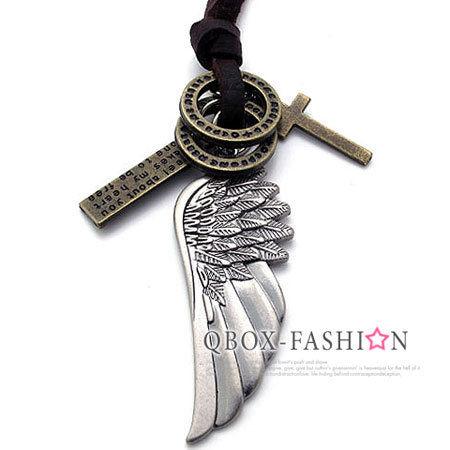 《 QBOX 》FASHION 飾品【 W10021371】精緻個性復古天使羽毛合金皮革墬子項鍊