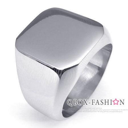 《QBOX》FASHION飾品【W10022259】精緻個性素面寬版316L鈦鋼戒指戒環(銀)