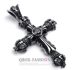 《 QBOX 》FASHION 飾品【W10022331】精緻個性皇冠十字架鑄造316L鈦鋼墬子項鍊(黑)