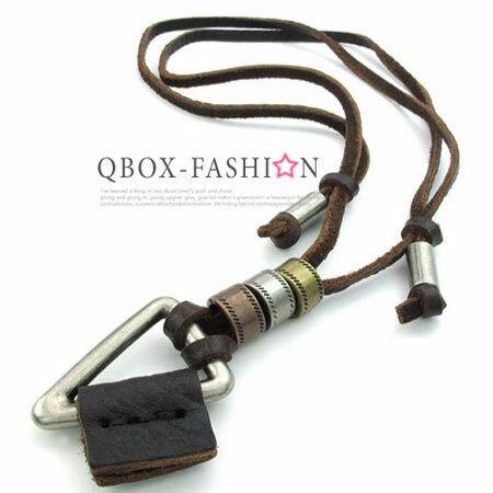 《 QBOX 》FASHION 飾品【W10022684】精緻個性復古簡約三角環圈合金皮革墬子項鍊