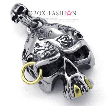 《QBOX》FASHION飾品【W10022721】精緻個性巫師骷髏頭鑄造316L鈦鋼墬子項鍊