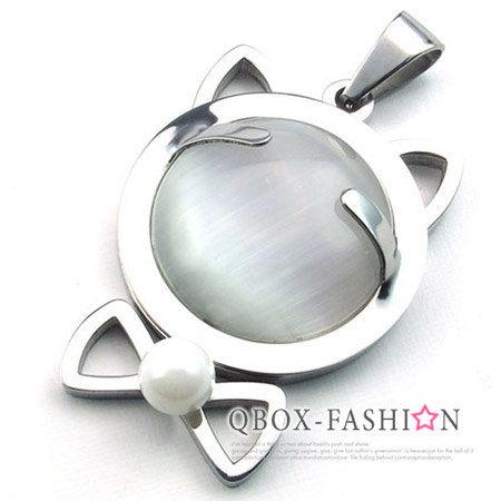 《 QBOX 》FASHION 飾品【W10022758】精緻可愛貓咪頭造型316L鈦鋼墬子項鍊(銀色)