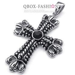 《 QBOX 》FASHION 飾品【W10023303】精緻個性鉚釘繩紋十字架黑鋯石鑄造316L鈦鋼墬子項鍊
