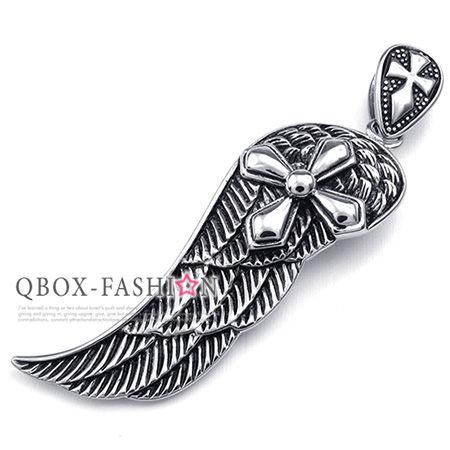 《 QBOX 》FASHION 飾品【W10023435】精緻個性羽之十字徽章鑄造316L鈦鋼墬子項鍊