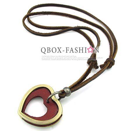 ~ QBOX ~FASHION 飾品~W10023499~精緻 復古簡約鏤空愛心合金皮革墬