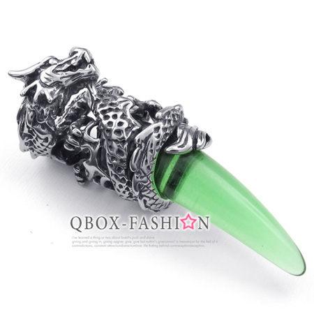 《QBOX 》FASHION 飾品【 W10023656】精緻個性蟠龍月牙316L鈦鋼墬子項鍊 (青綠色)