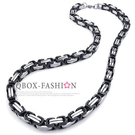 《QBOX》FASHION飾品【W10023728】精緻個性雙色黑邊雙環扣316L鈦鋼項鍊子鋼鍊條