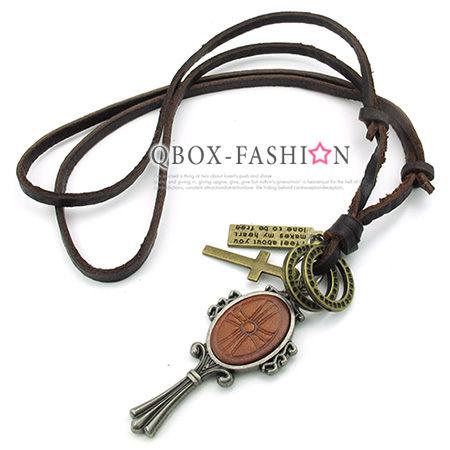 《 QBOX 》FASHION 飾品【W10023791】精緻個性復古化妝鏡合金皮革墬子項鍊